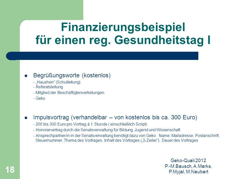 """Geko-Quali 2012 P.-M.Bausch, A.Marks, P.Myjal, M.Neubert 18 Finanzierungsbeispiel für einen reg. Gesundheitstag I Begrüßungsworte (kostenlos) - """"Haush"""