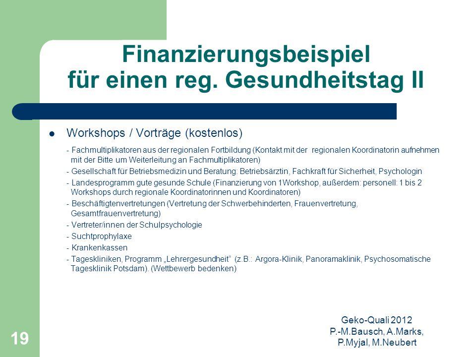 Geko-Quali 2012 P.-M.Bausch, A.Marks, P.Myjal, M.Neubert 19 Finanzierungsbeispiel für einen reg. Gesundheitstag II Workshops / Vorträge (kostenlos) -