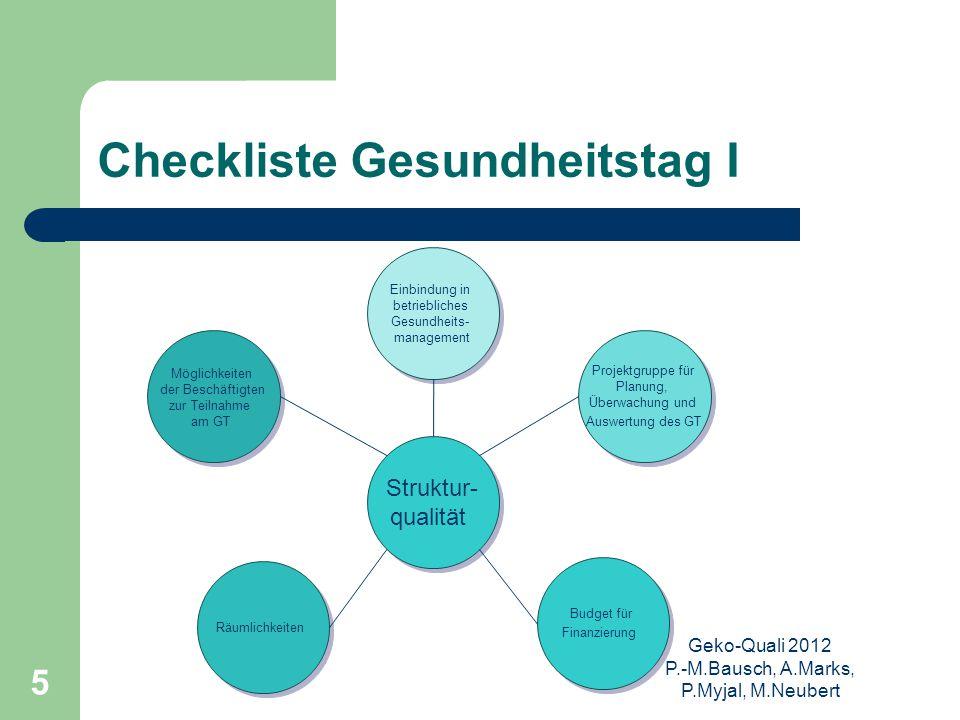 Geko-Quali 2012 P.-M.Bausch, A.Marks, P.Myjal, M.Neubert 5 Checkliste Gesundheitstag I Struktur- qualität Struktur- qualität Einbindung in betrieblich