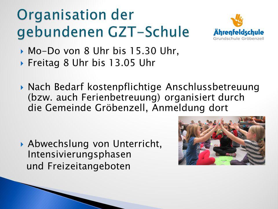  Mo-Do von 8 Uhr bis 15.30 Uhr,  Freitag 8 Uhr bis 13.05 Uhr  Nach Bedarf kostenpflichtige Anschlussbetreuung (bzw. auch Ferienbetreuung) organisie