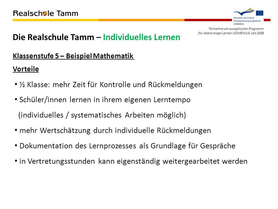 Teilnahme am europäischen Programm für lebenslanges Lernen (COMENIUS) seit 2008 Die Realschule Tamm – Individuelles Lernen Vorteile ½ Klasse: mehr Zei