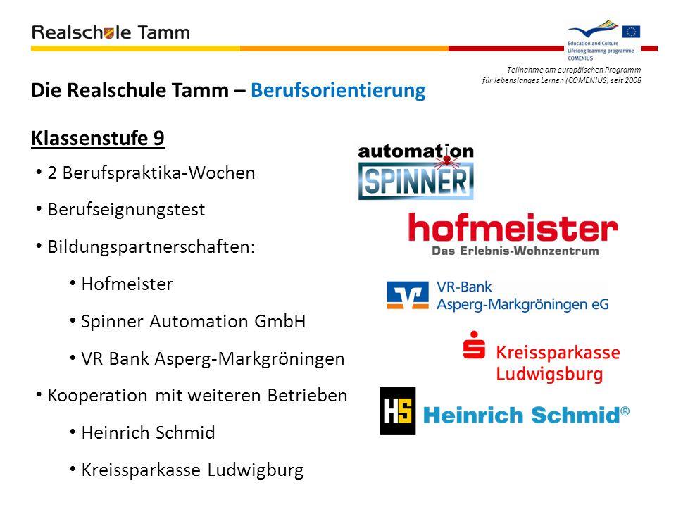 Teilnahme am europäischen Programm für lebenslanges Lernen (COMENIUS) seit 2008 Die Realschule Tamm – Berufsorientierung 2 Berufspraktika-Wochen Beruf