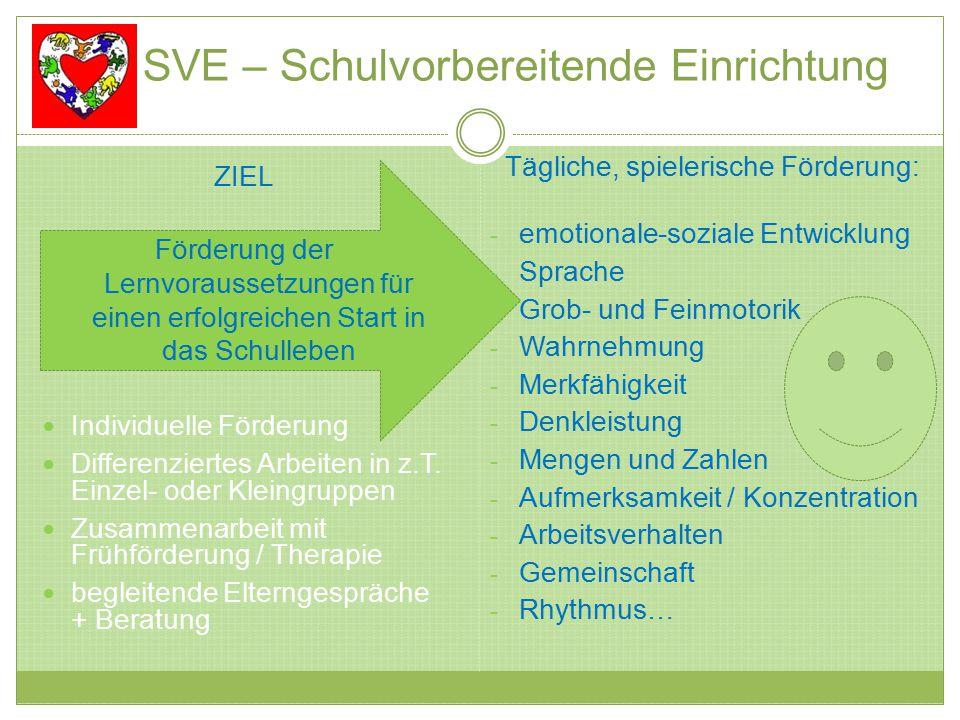 SVE – Schulvorbereitende Einrichtung ZIEL Förderung der Lernvoraussetzungen für einen erfolgreichen Start in das Schulleben Individuelle Förderung Differenziertes Arbeiten in z.T.