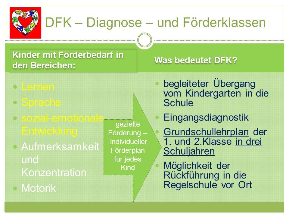 Kinder mit Förderbedarf in den Bereichen: Was bedeutet DFK.