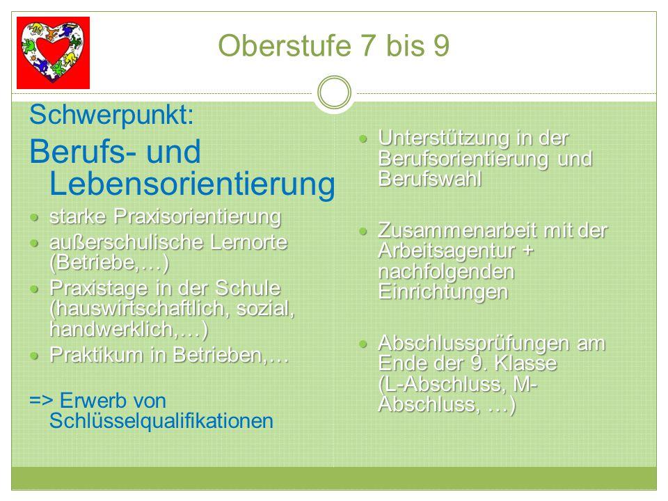 Oberstufe 7 bis 9 Schwerpunkt: Berufs- und Lebensorientierung starke Praxisorientierung starke Praxisorientierung außerschulische Lernorte (Betriebe,…