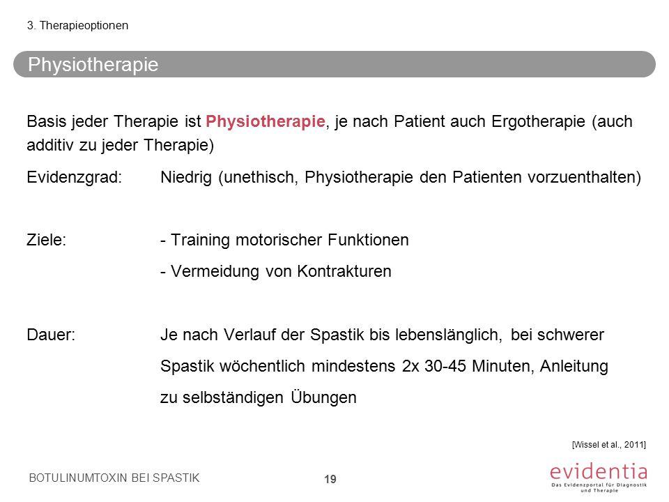 Physiotherapie Basis jeder Therapie ist Physiotherapie, je nach Patient auch Ergotherapie (auch additiv zu jeder Therapie) Evidenzgrad:Niedrig (unethi