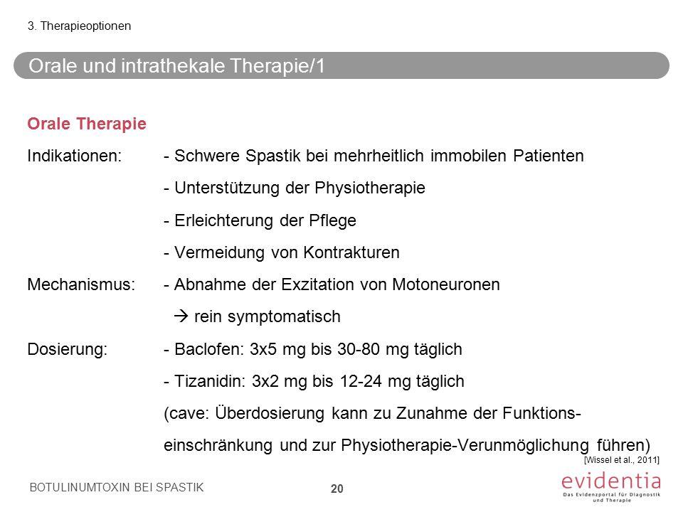 Orale und intrathekale Therapie/1 Orale Therapie Indikationen:- Schwere Spastik bei mehrheitlich immobilen Patienten - Unterstützung der Physiotherapi