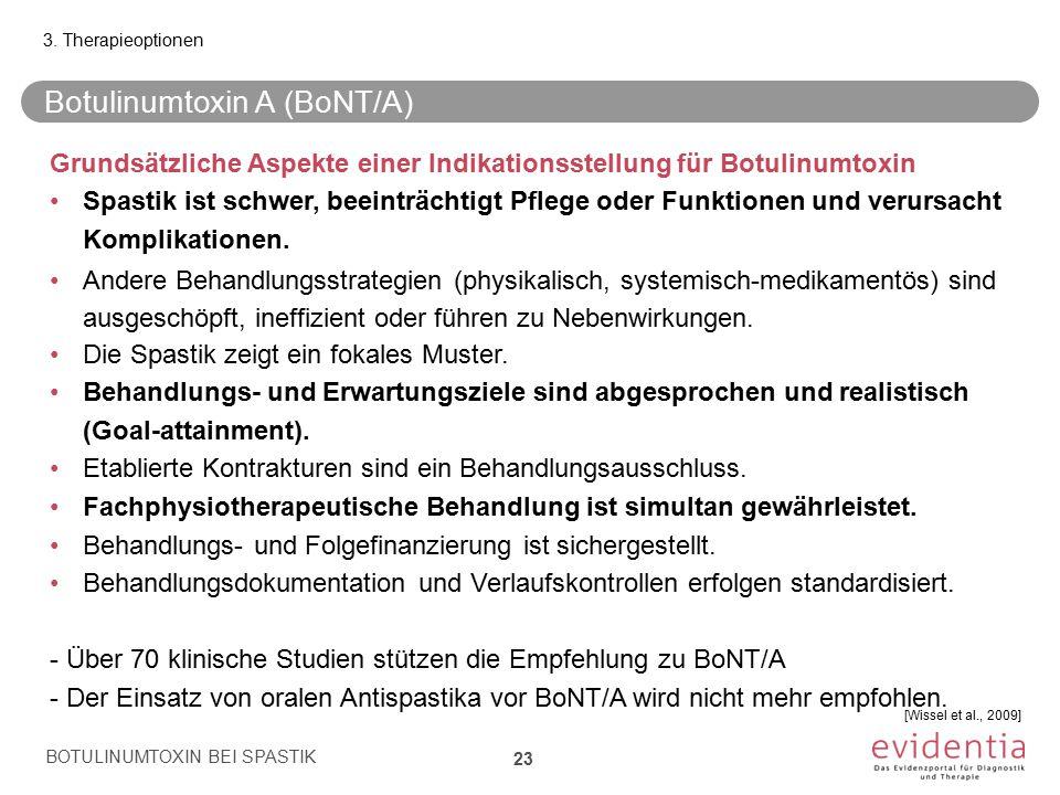 Botulinumtoxin A (BoNT/A) BOTULINUMTOXIN BEI SPASTIK 23 3. Therapieoptionen Grundsätzliche Aspekte einer Indikationsstellung für Botulinumtoxin Spasti
