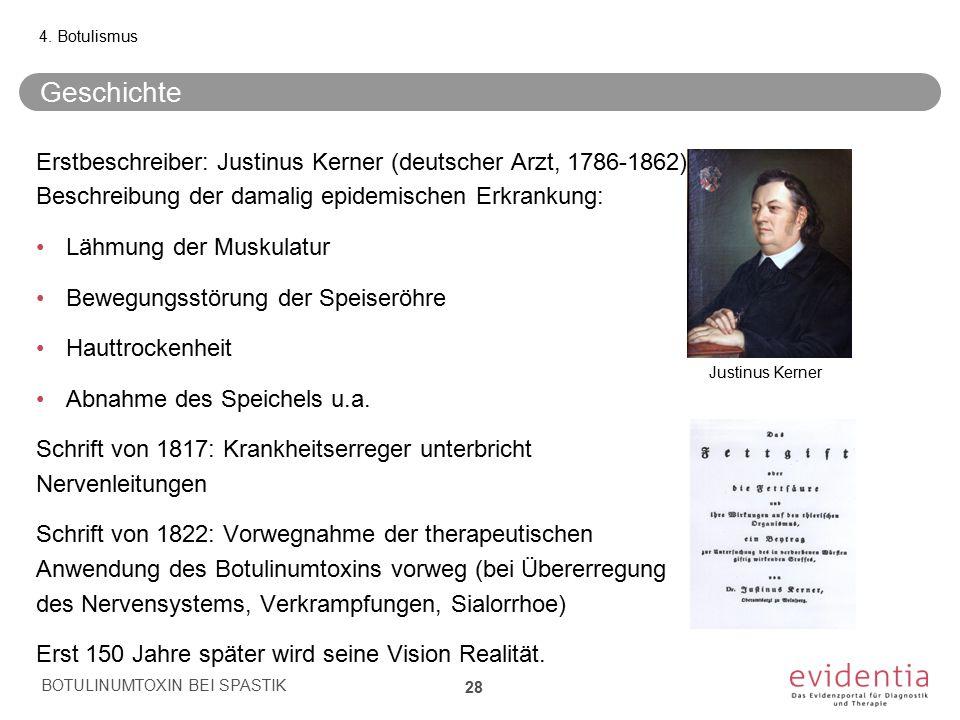 Geschichte Erstbeschreiber: Justinus Kerner (deutscher Arzt, 1786-1862) Beschreibung der damalig epidemischen Erkrankung: Lähmung der Muskulatur Beweg
