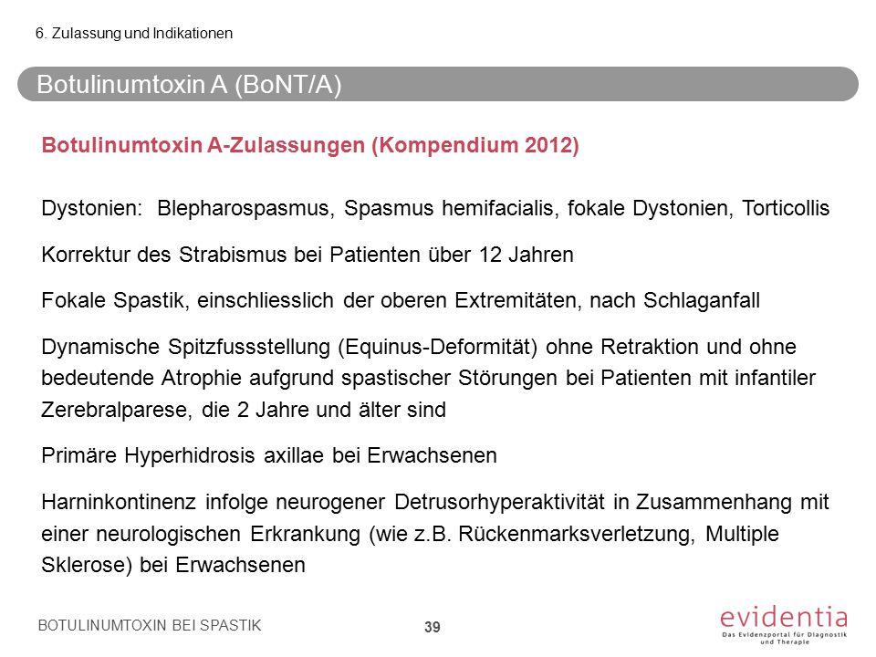 Botulinumtoxin A (BoNT/A) BOTULINUMTOXIN BEI SPASTIK 39 6. Zulassung und Indikationen Botulinumtoxin A-Zulassungen (Kompendium 2012) Dystonien: Blepha