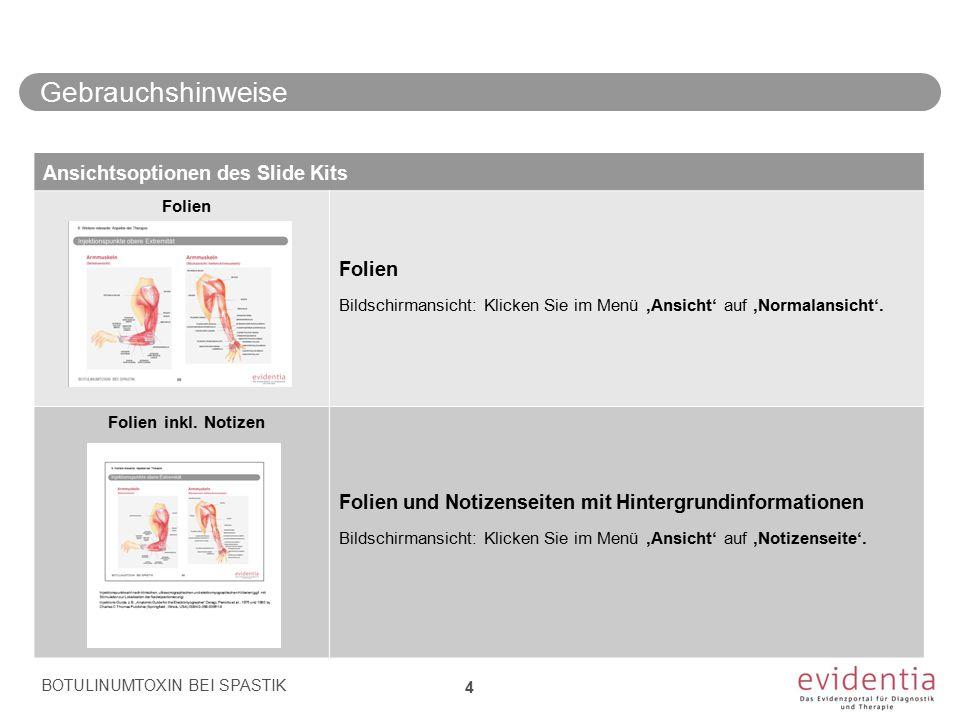 Gebrauchshinweise BOTULINUMTOXIN BEI SPASTIK 4 Ansichtsoptionen des Slide Kits Folien Bildschirmansicht: Klicken Sie im Menü 'Ansicht' auf 'Normalansi