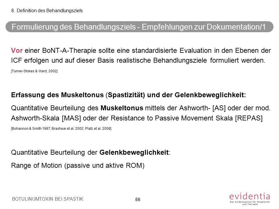 Formulierung des Behandlungsziels - Empfehlungen zur Dokumentation/1 Vor einer BoNT-A-Therapie sollte eine standardisierte Evaluation in den Ebenen de