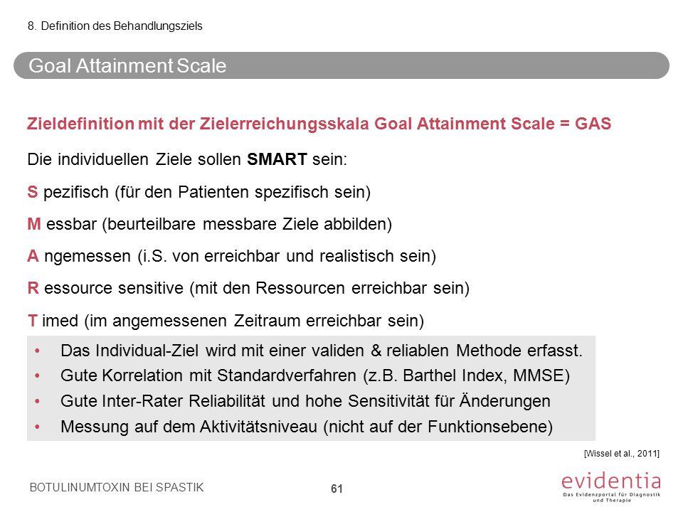 Goal Attainment Scale Zieldefinition mit der Zielerreichungsskala Goal Attainment Scale = GAS Die individuellen Ziele sollen SMART sein: S pezifisch (