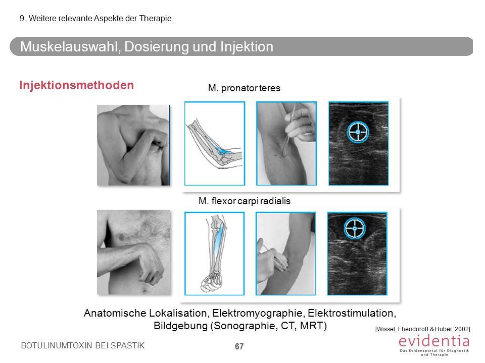 Muskelauswahl, Dosierung und Injektion Injektionsmethoden BOTULINUMTOXIN BEI SPASTIK 67 9. Weitere relevante Aspekte der Therapie M. pronator teres M.