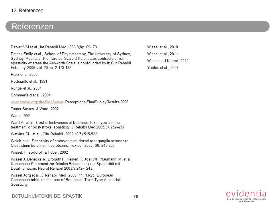 Referenzen Parker VM et al., Int.Rehabil.Med.1986:8(8): 69- 73 Patrick Emily et al., School of Physiotherapy, The University of Sydney, Sydney, Austra