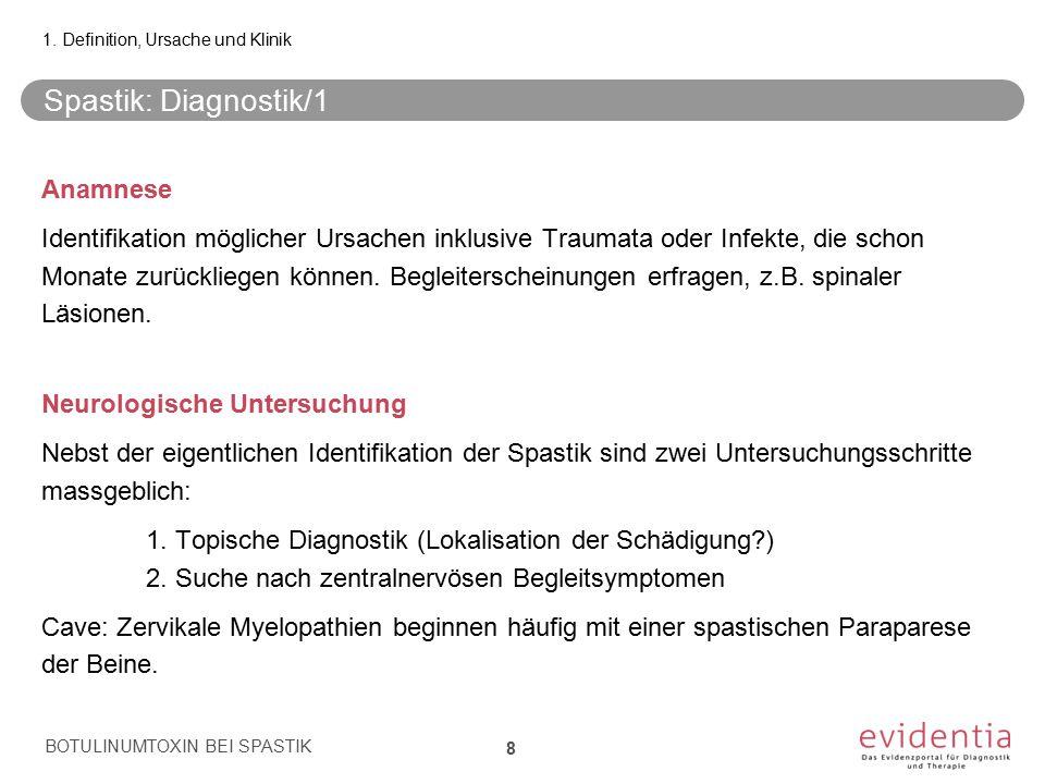 Spastik: Diagnostik/1 Anamnese Identifikation möglicher Ursachen inklusive Traumata oder Infekte, die schon Monate zurückliegen können. Begleiterschei