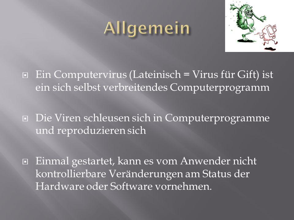  Ein Computervirus (Lateinisch = Virus für Gift) ist ein sich selbst verbreitendes Computerprogramm  Die Viren schleusen sich in Computerprogramme u
