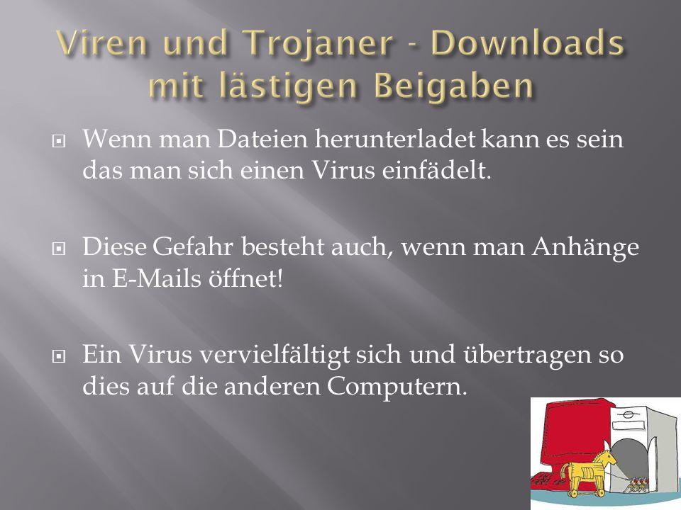  Wenn man Dateien herunterladet kann es sein das man sich einen Virus einfädelt.  Diese Gefahr besteht auch, wenn man Anhänge in E-Mails öffnet!  E