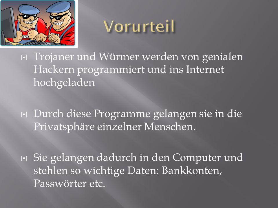 Trojaner und Würmer werden von genialen Hackern programmiert und ins Internet hochgeladen  Durch diese Programme gelangen sie in die Privatsphäre e