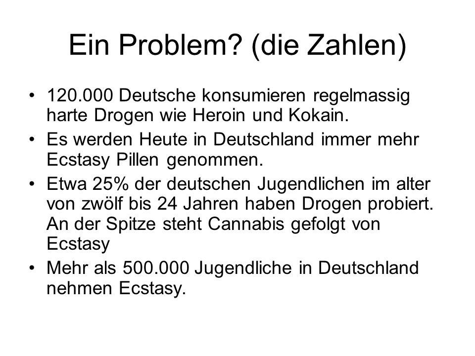 Ein Problem? (die Zahlen) 120.000 Deutsche konsumieren regelmassig harte Drogen wie Heroin und Kokain. Es werden Heute in Deutschland immer mehr Ecsta
