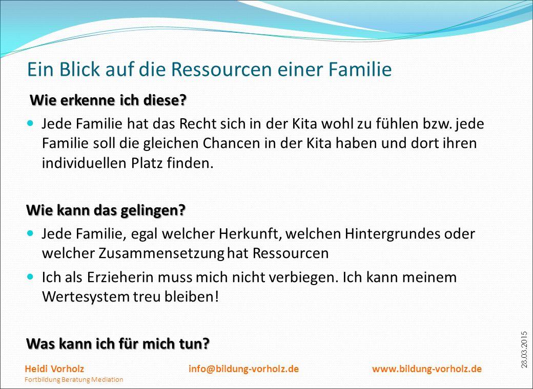 28.03.2015 Ein Blick auf die Ressourcen einer Familie Wie erkenne ich diese? Jede Familie hat das Recht sich in der Kita wohl zu fühlen bzw. jede Fami