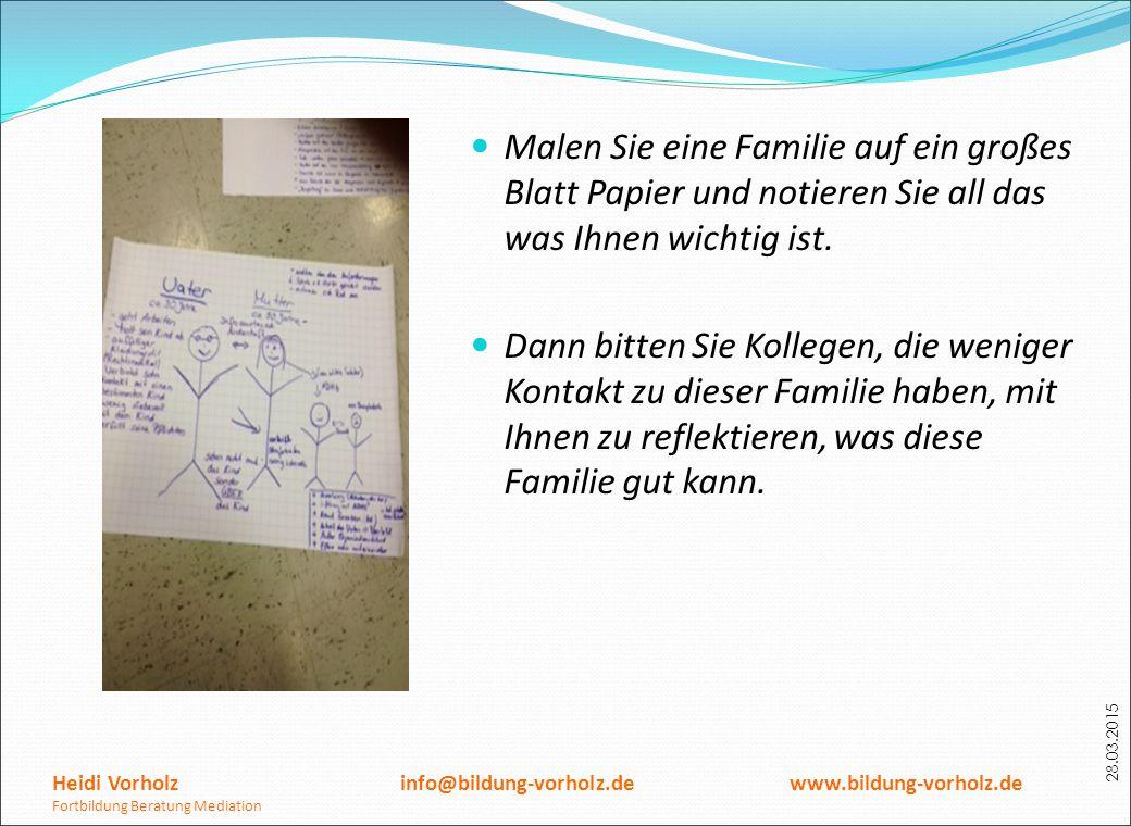 28.03.2015 Malen Sie eine Familie auf ein großes Blatt Papier und notieren Sie all das was Ihnen wichtig ist. Dann bitten Sie Kollegen, die weniger Ko