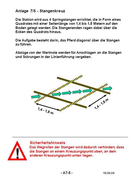 ! Anlage 7/5 - Stangenkreuz Die Station wird aus 4 Springstangen errichtet, die in Form eines Quadrates mit einer Seitenlänge von 1,4 bis 1,8 Metern a