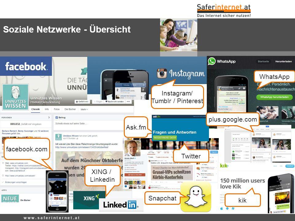 Soziale Netzwerke - Übersicht w w w. s a f e r i n t e r n e t. a t WhatsApp Twitter facebook.com Snapchat kik Ask.fm plus.google.com Instagram/ Tumbl