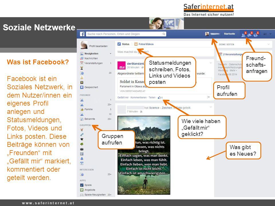 Was ist Facebook? Facebook ist ein Soziales Netzwerk, in dem Nutzer/innen ein eigenes Profil anlegen und Statusmeldungen, Fotos, Videos und Links post