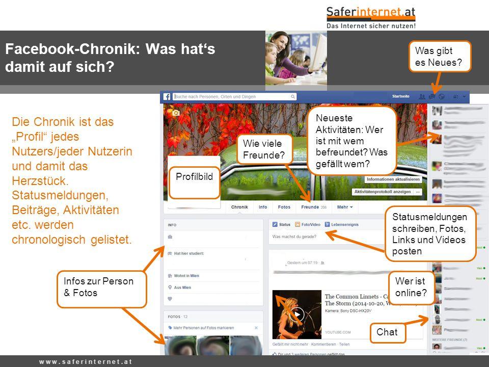 """Wie viele Freunde? Was gibt es Neues? Die Chronik ist das """"Profil"""" jedes Nutzers/jeder Nutzerin und damit das Herzstück. Statusmeldungen, Beiträge, Ak"""