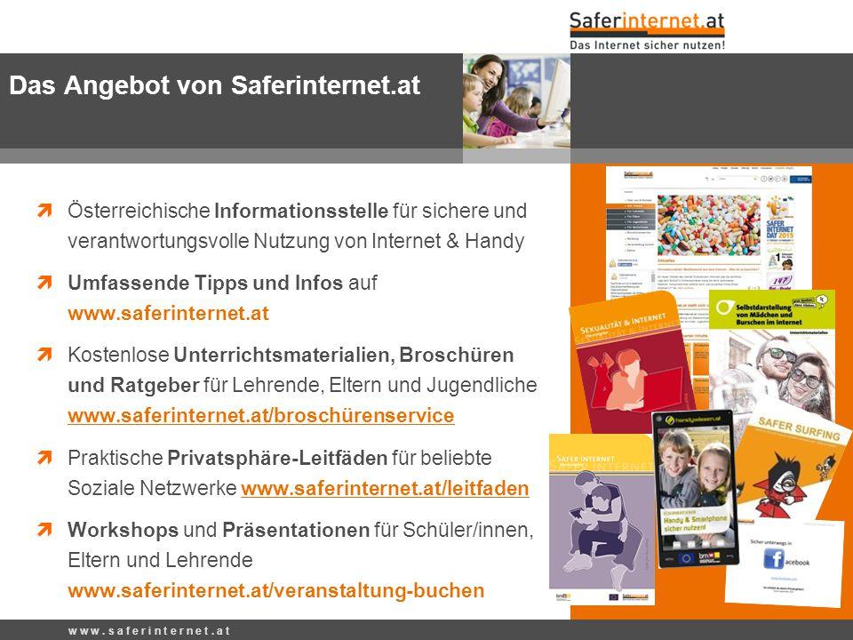  147 Rat auf Draht www.rataufdraht.at Kostenlose 24h-Telefonhilfe für Kinder, Jugendliche und deren Bezugspersonen  Social Media auf Facebook, Twitter und Google+ www.facebook.com/saferinternetat  Bit & Byte-Show: Infovideos für 9- bis 12-Jährige www.youtube.com/saferinternetat  Jugendquiz www.saferinternet.at/tests-und-quiz  Moodle-Kurse http://moodle.saferinternet.at  Online-Kurse lms.at/otp, www.virtuelle-ph.atwww.virtuelle-ph.at  Tests und Quiz rataufdraht.orf.at/?area=Testsrataufdraht.orf.at/?area=Tests w w w.