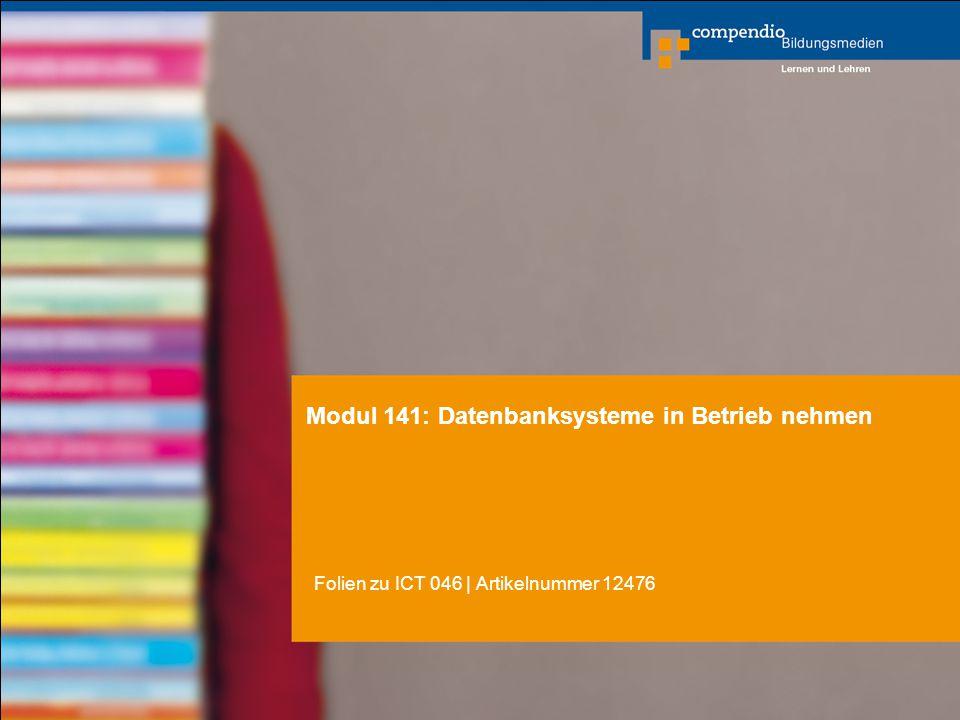 Modul 141: Datenbanksysteme in Betrieb nehmen Folien zu ICT 046   Artikelnummer 12476
