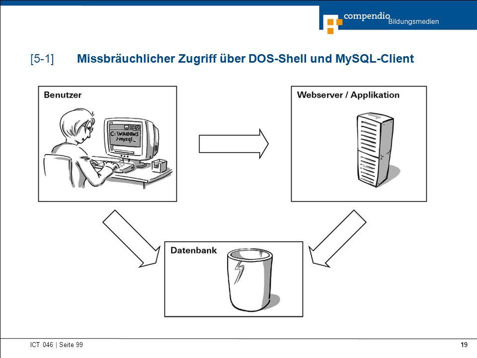Missbräuchlicher Zugriff über DOS-Shell und MySQL-Client ICT 046   Seite 99 19 Missbräuchlicher Zugriff über DOS-Shell und MySQL-Client[5-1]