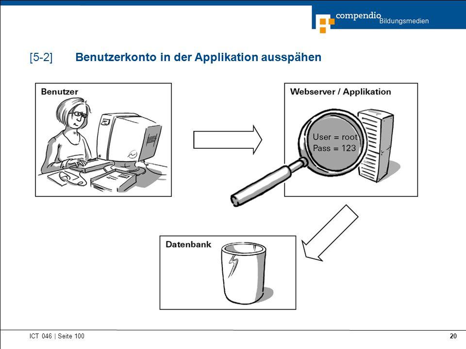 Benutzerkonto in der Applikation ausspähen ICT 046   Seite 100 20 Benutzerkonto in der Applikation ausspähen[5-2]