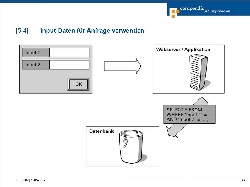 Input-Daten für Anfrage verwenden ICT 046   Seite 102 22 Input-Daten für Anfrage verwenden[5-4]