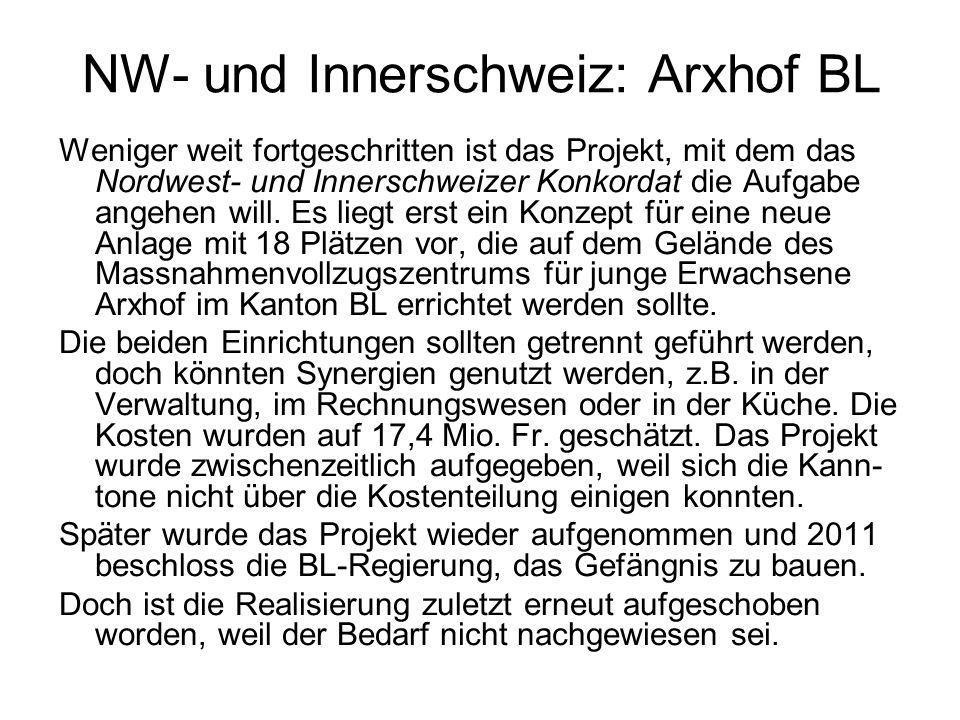 NW- und Innerschweiz: Arxhof BL Weniger weit fortgeschritten ist das Projekt, mit dem das Nordwest- und Innerschweizer Konkordat die Aufgabe angehen will.