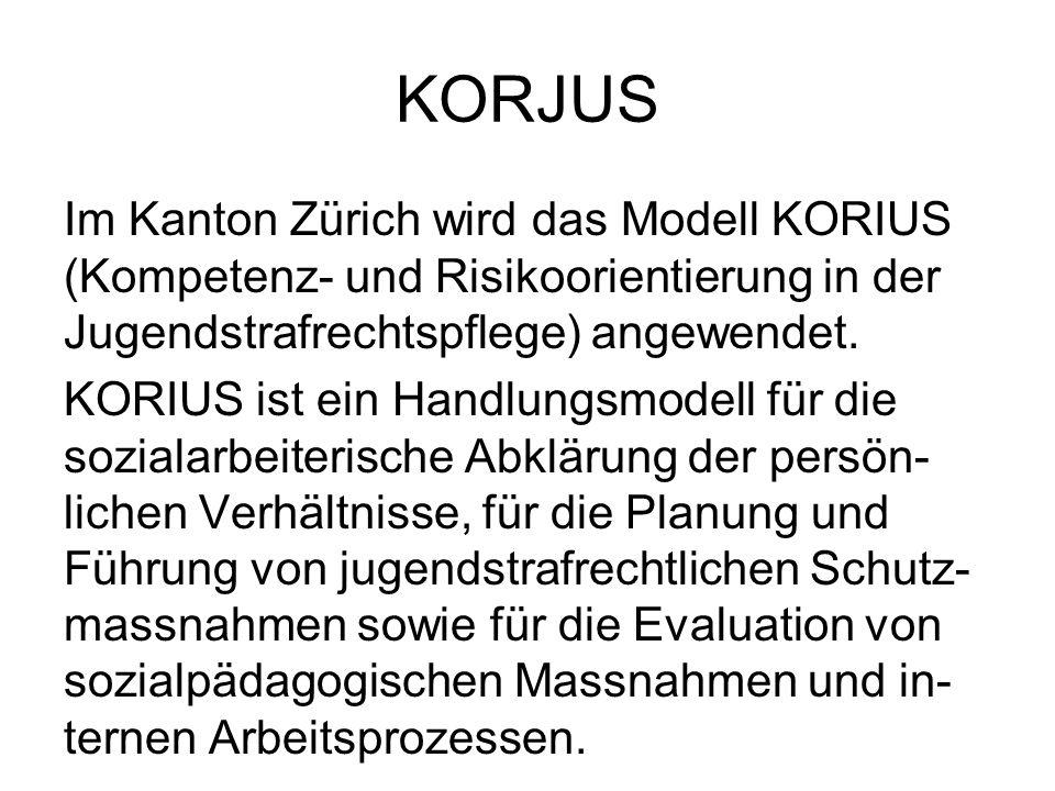 KORJUS Im Kanton Zürich wird das Modell KORIUS (Kompetenz- und Risikoorientierung in der Jugendstrafrechtspflege) angewendet.