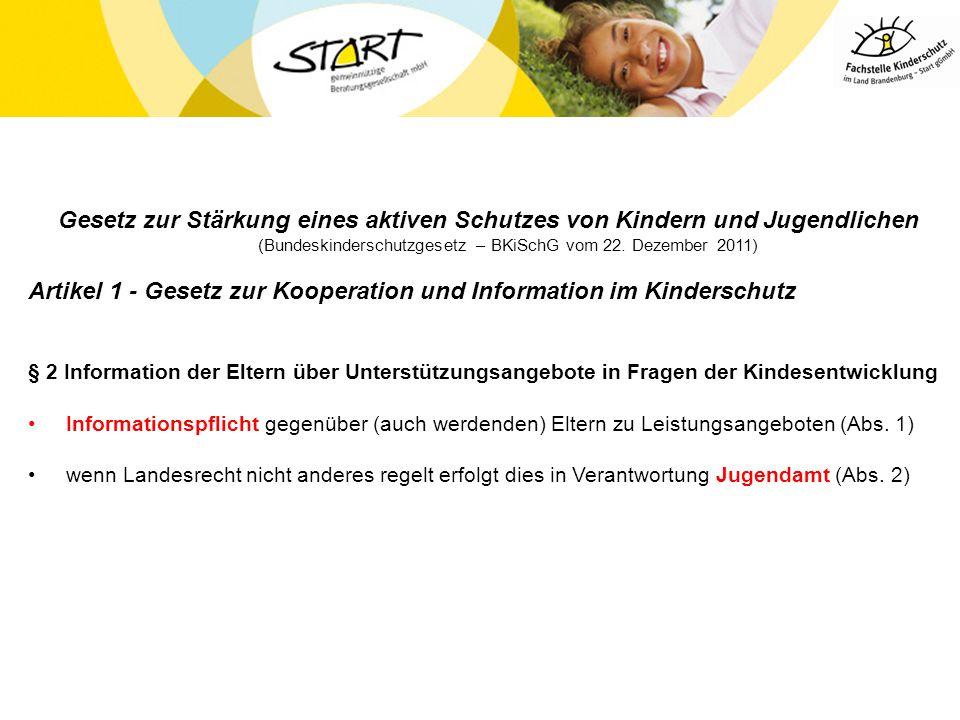 Gesetz zur Stärkung eines aktiven Schutzes von Kindern und Jugendlichen (Bundeskinderschutzgesetz – BKiSchG vom 22. Dezember 2011) Artikel 1 - Gesetz