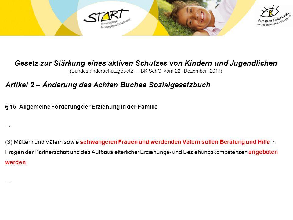Gesetz zur Stärkung eines aktiven Schutzes von Kindern und Jugendlichen (Bundeskinderschutzgesetz – BKiSchG vom 22. Dezember 2011) Artikel 2 – Änderun