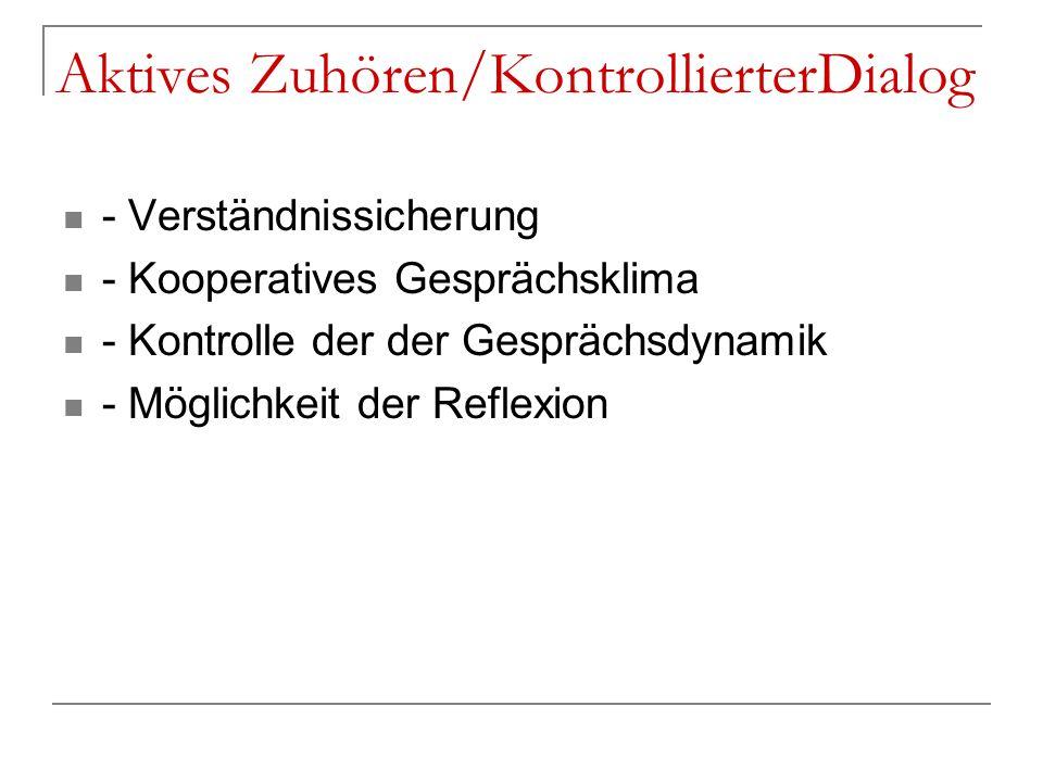 Aktives Zuhören/KontrollierterDialog - Verständnissicherung - Kooperatives Gesprächsklima - Kontrolle der der Gesprächsdynamik - Möglichkeit der Refle