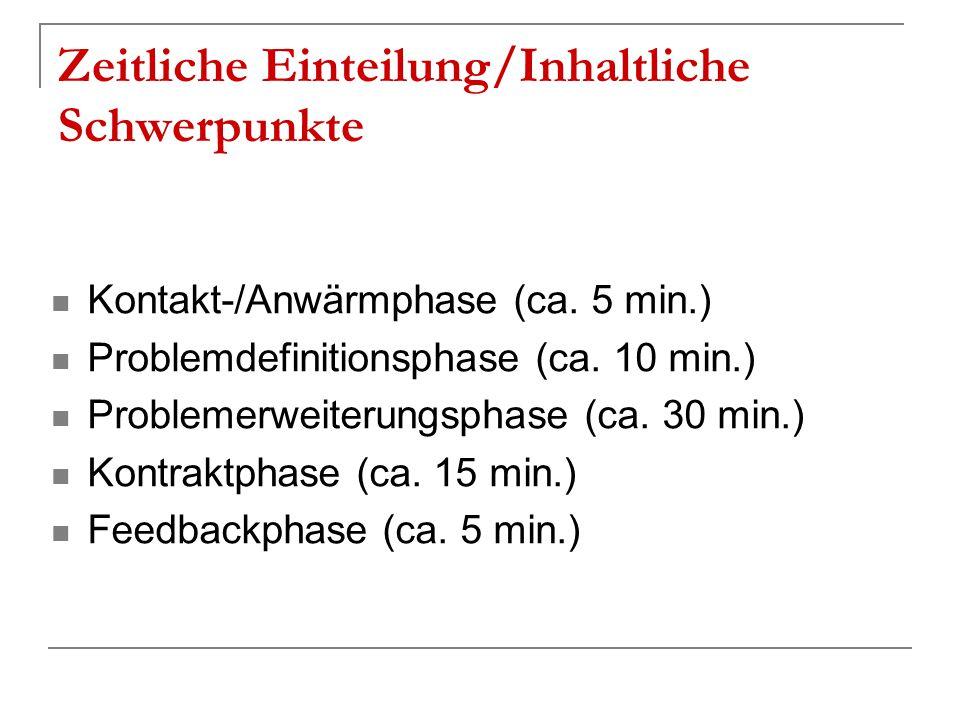 Zeitliche Einteilung/Inhaltliche Schwerpunkte Kontakt-/Anwärmphase (ca. 5 min.) Problemdefinitionsphase (ca. 10 min.) Problemerweiterungsphase (ca. 30