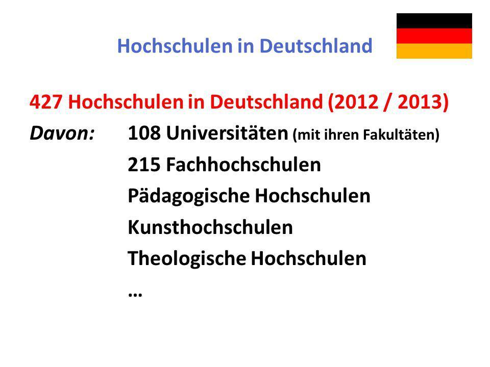 Hochschulen in Deutschland 427 Hochschulen in Deutschland (2012 / 2013) Davon:108 Universitäten (mit ihren Fakultäten) 215 Fachhochschulen Pädagogisch