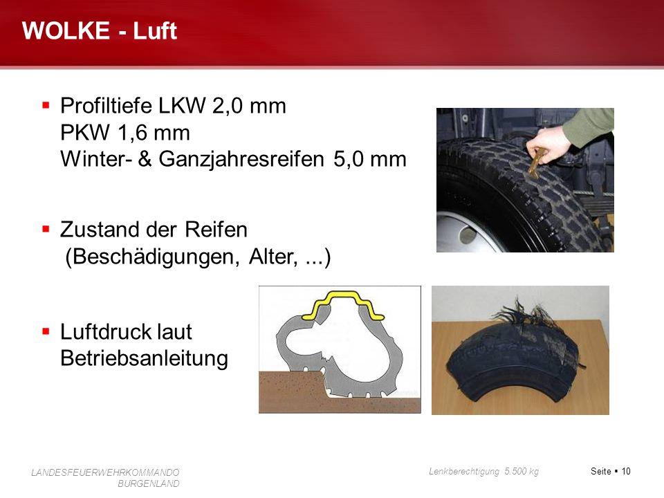 Seite  10 Lenkberechtigung 5.500 kg LANDESFEUERWEHRKOMMANDO BURGENLAND WOLKE - Luft  Profiltiefe LKW 2,0 mm PKW 1,6 mm Winter- & Ganzjahresreifen 5,