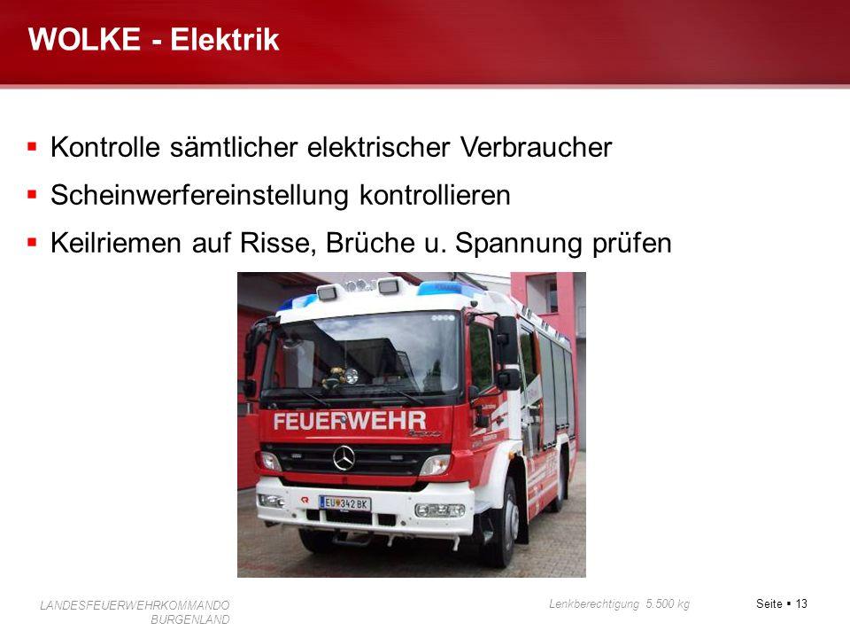 Seite  13 Lenkberechtigung 5.500 kg LANDESFEUERWEHRKOMMANDO BURGENLAND WOLKE - Elektrik  Kontrolle sämtlicher elektrischer Verbraucher  Scheinwerfe