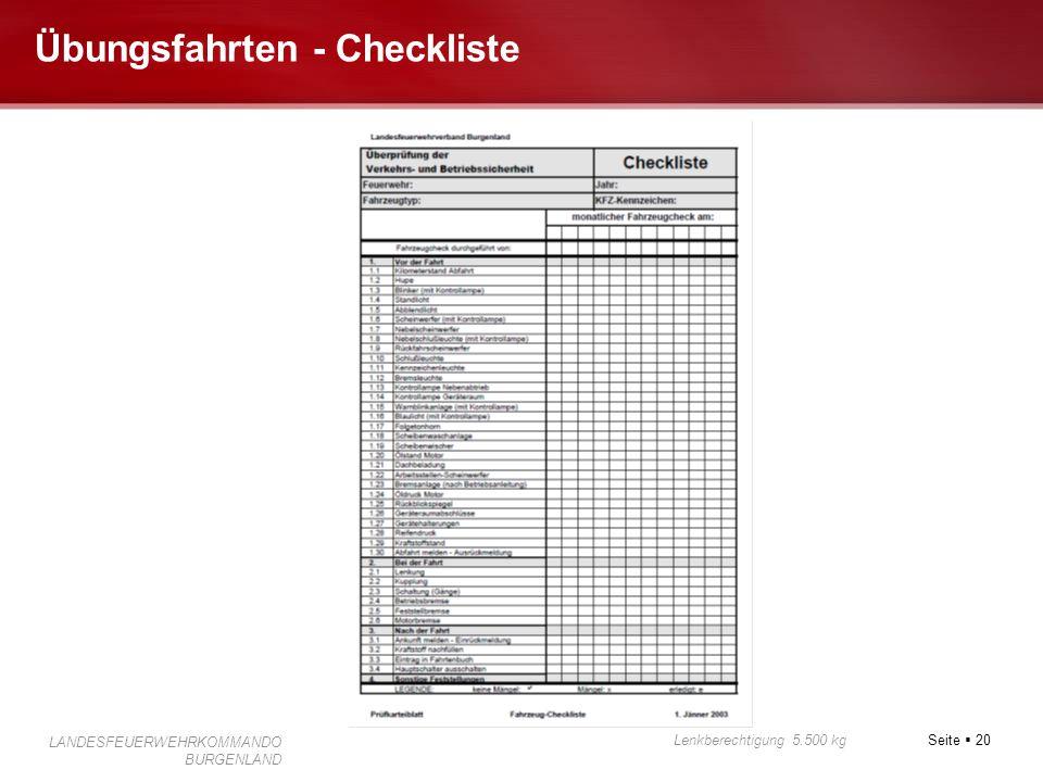 Seite  20 Lenkberechtigung 5.500 kg LANDESFEUERWEHRKOMMANDO BURGENLAND Übungsfahrten - Checkliste
