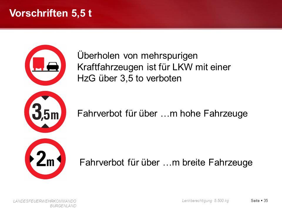 Seite  35 Lenkberechtigung 5.500 kg LANDESFEUERWEHRKOMMANDO BURGENLAND Vorschriften 5,5 t Fahrverbot für über …m hohe Fahrzeuge Fahrverbot für über …