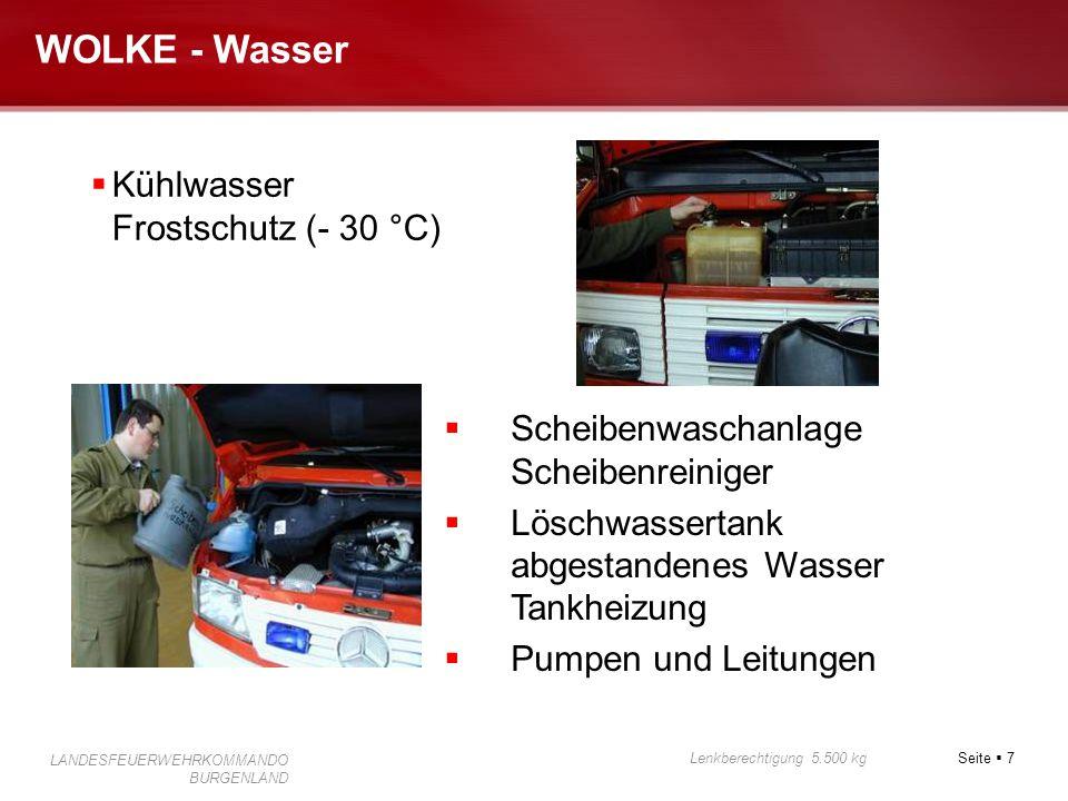 Seite  7 Lenkberechtigung 5.500 kg LANDESFEUERWEHRKOMMANDO BURGENLAND WOLKE - Wasser  Kühlwasser Frostschutz (- 30 °C)  Scheibenwaschanlage Scheibe