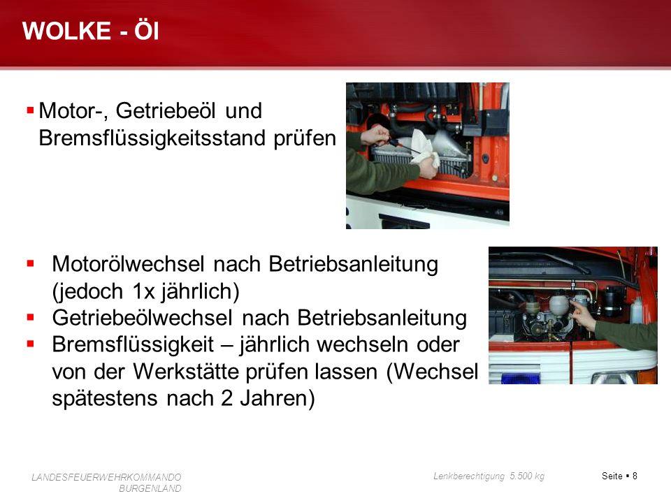 """Seite  9 Lenkberechtigung 5.500 kg LANDESFEUERWEHRKOMMANDO BURGENLAND WOLKE - Luft  Reifendruck (auch Reserverad)  Beschriftung am Kotflügel """"bar"""