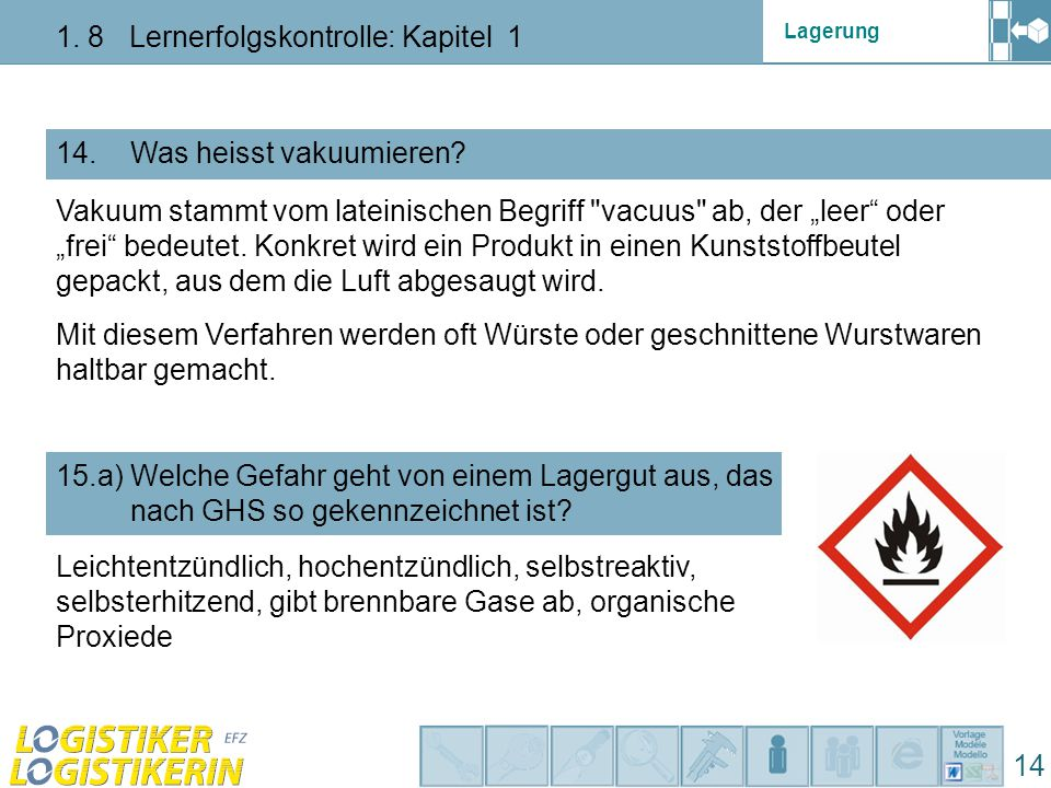 Lagerung 1. 8 Lernerfolgskontrolle: Kapitel 1 14 14. Was heisst vakuumieren? 15.a) Welche Gefahr geht von einem Lagergut aus, das nach GHS so gekennze