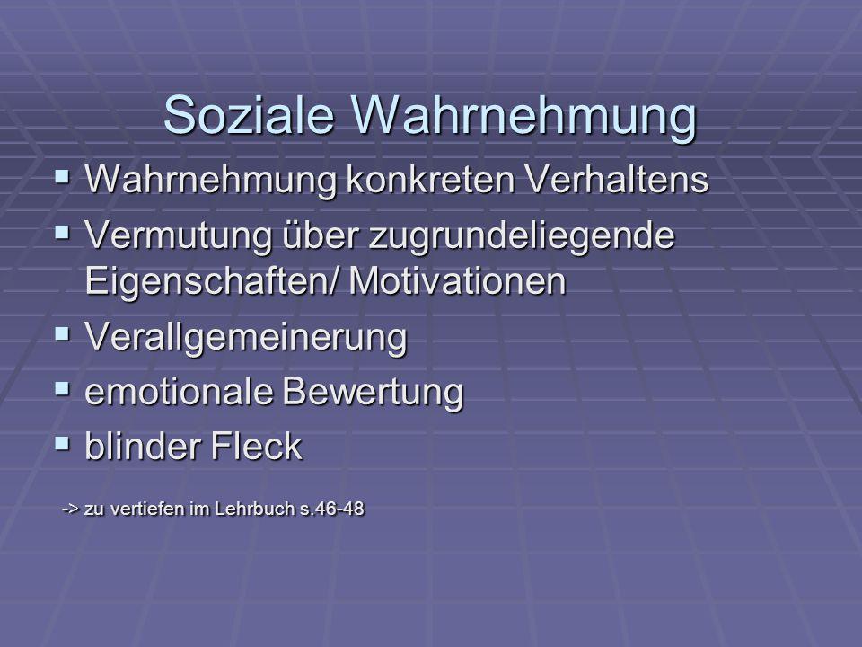 Soziale Wahrnehmung  Wahrnehmung konkreten Verhaltens  Vermutung über zugrundeliegende Eigenschaften/ Motivationen  Verallgemeinerung  emotionale